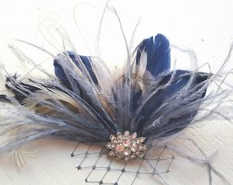 Navy Blue Hair Fascinator, Feather accessories.  Great Gatsby,  Wedding Hair Clip, Bridal Hair Clip, Feather Hair Clip, Feather Fascinator