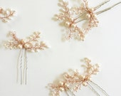 Reserved for B - Mohini Rose Bridal hair pin, Rose Gold hair pins, Pearl Hair pins  - Style 2