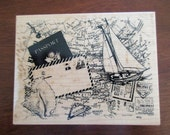 PSX K-3116  rubber stamp mounted on wood - The Montage Collection, passport, map, sailboat, letter, seashell