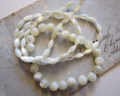 76 mother of pearl beads - MOP beads - 2 shapes