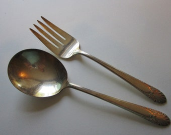 vintage RADIANCE silver plated SALAD serving set - Radiance by Crown Silver Plate - 1939