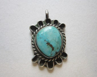 vintage handmade turquoise and silver pendant