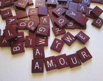 99 vintage RED scrabble tiles - maroon Scrabble pieces, game pieces, wood, letters, tiles, spell, alphabet, assemblage