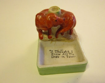 vintage match holder, trinket dish - I thought I knew all the DOGS in town - dog sniffing butt figurine dish - made in Japan