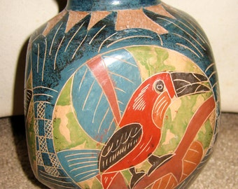 Central America Pottery-Toucan, butterfly-handmade-mint-sale