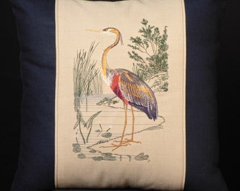New Blue Embroidered Purple Heron Throw Pillow New 18 x 18 Insert — Item 198