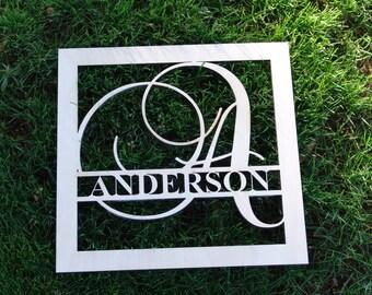 """Wooden monogram door hanger wood monogram 12"""" name and Initial"""
