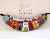 Reserved listing for Lídia *** Hundertwasser - enamel necklace - colorful - house - town - color blocking