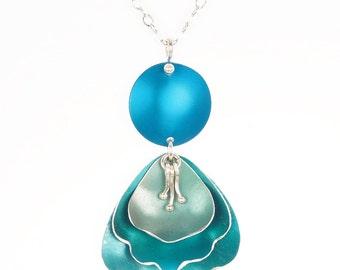 Flower Petal Pendant – Romantic Rose Collection- Anodized Aluminum Necklace Comes in Four Colors