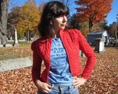 80s cropped red calico coat - quilted prairie jacket - fitted with puff sleeves