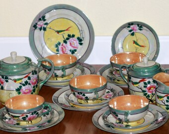 Japanese Lusterware Tea Set Vintage 1940s Hand Painted Made in Japan