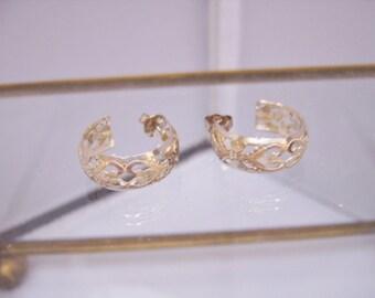 Vintage Etched Heart Sterling Silver Hoop Earrings
