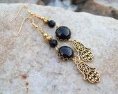 SALE - Hamsa with Black Onyx gemstone cabochons, Dangle earrings, gold earrings, Gypsy Earrings, Boho Bohemian Beaded Earrings