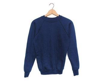 Vintage Dark Navy Blue NOS Crewneck Longsleeve Sweatshirt Made in USA - Small