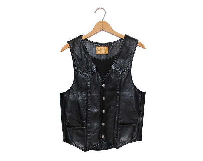 Vintage Black Leather Biker Vest by Tino Trevino's Leather Den New York City Made in USA - Small (os-jkt-18)