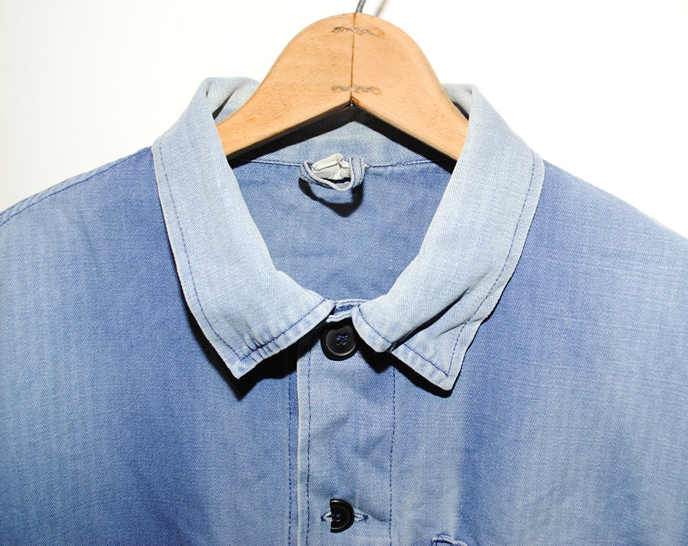 Vintage European Weathered & Faded Light Blue Herringbone Cotton Button Up  Chore Coat - Large