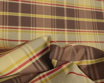 Chocolate Brown Red & Gold Plaid Fabric Barrow M7269