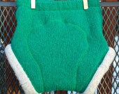 Upcycled Wool Diaper Cover, Soaker, medium, extra layer, green with gray cuffs