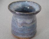 "Miniature Stoneware Vase Art Pottery Pot Handmade Blue Glaze 2 1/4"" Tall"