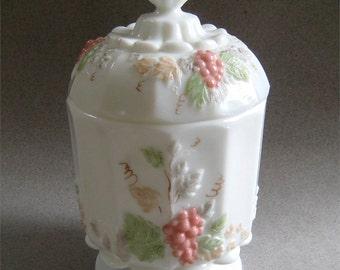 Vintage Westmoreland Milk Glass Paneled Grape Covered Sugar Bowl Hand Painted