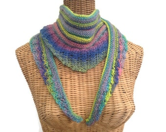 Lacy  Knit Scarf Bright Multi Colors Triangular Scarf Wool Scarf Lacy Wool Cowl Knit Neck Warmer Hand Knit Scarf Boutique Scarf