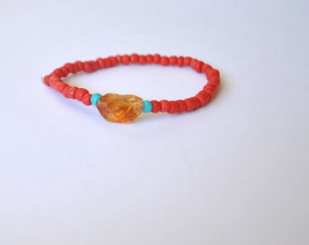 Stretch Bracelet / Stretchy Bracelet / Stackable Bracelet / Handmade Bracelet / Natural Bracelet / Bohemian Jewelry / Boho Bracelet / Red
