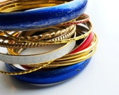 Vintage Metal Bangle Set - Red, White, Gold, Blue bangles