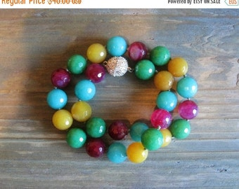 20% OFF ON SALE Multi Color Agate Hand Knotted Necklace, Gemstone Jewelry