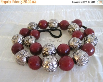 20% OFF ON SALE Hand Knotted Ruby Quartz with Silver Tone Carved Beads Necklace