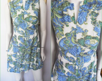 Vtg.60s Green Blue Floral Lurex Metallic Silver Thread Mini Dress.Small Bust 34-36.Waist 28-30.