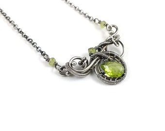 Wire wrapped necklace, peridot jewelry, sterling silver wirework necklace, green delicate necklace