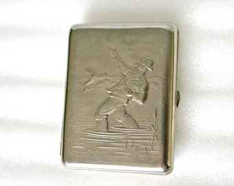 Vintage Metal Cigarette Case / Business Card Holder / Metal Wallet - The Fisherman / Fishing - from Russia / Soviet Union / USSR