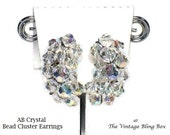 50's AB Crystal Glass Bead Cluster Earrings with Faceted Beads Hand-wired on Silver Clip Back Finding - Vintage Circa 50s Costume Jewelry