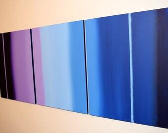 "extra large wall art triptych hanging modern abstract painting ""Linear purple"" art canvas art 3 panel contemporary schilderijen 48 x 20"