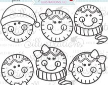 SALE Gingerbread Faces Cute Christmas Digital Stamps for Commercial or Personal Use, Gingerbread Digital Stamp, Christmas Graphics, Christma