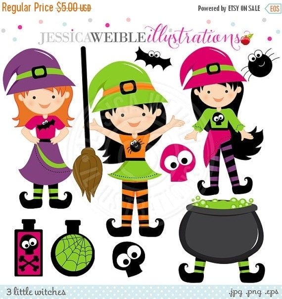 SALE 3 Little Witches Cute Digital Clipart for Card Design, Scrapbooking, and Web Design, Halloween Witch Clipart