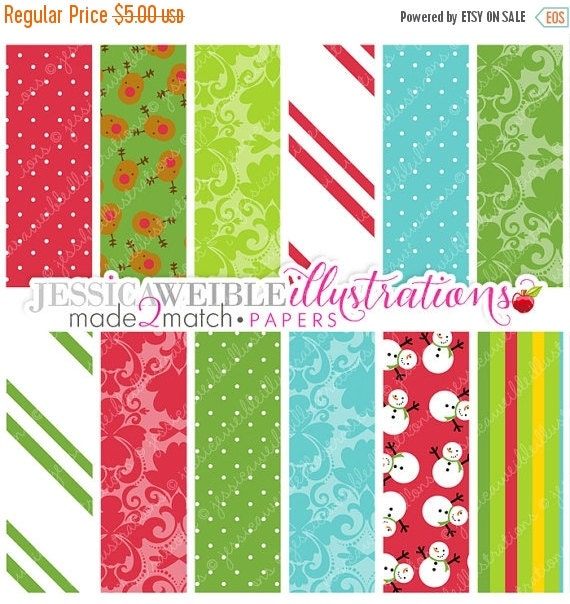 SALE Christmas Morning Cute Digital Papers for Commercial or Personal Use, Christmas Patterns, Christmas Papers
