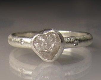 Raw Diamond Engagement Ring,  Recycled Palladium Sterling, White Rough Diamond Ring, Uncut Diamond Ring