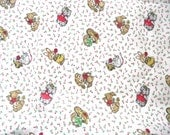 Cute Animals Fabric, 3 Yard of Vintage Fabric featuring Dogs, Cats, Bunnies, Mice and Squirrels (D2)