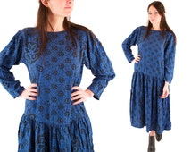 ARIANA 80s Blue and Black Batik Slouchy African Ethnic Rayon Drop Waist New Age Hippie Dress Medium M