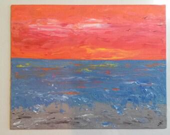 SALE Abstract ORIGINAL Beach Painting Small Art cottage art Modern Art