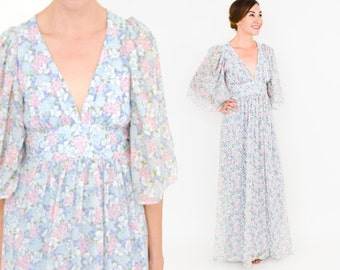 70s Floral Maxi Dress | Eggshell Blue Print Peasant Dress | Flower Child | Extra Small