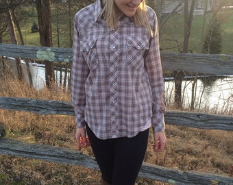 70s plaid shirt farmer blouse brown white blue hipster country western size medium