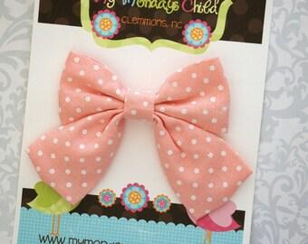 Peach Bow, Sailor Bow, Peach Hair Bow, Baby Bows, Toddler Bow, Girls Bow, Toddler Bows, Toddler Hair Bow, Girls Hair Bow