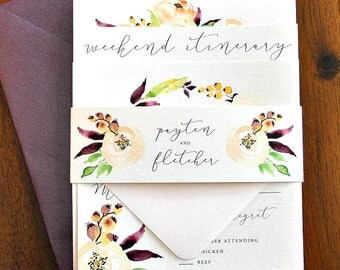 Autumn Watercolor Floral Wedding Invitation Suite with Belly Band - Eggplant Purple, Peach, Blush Pink, Charcoal Ivory (customizable)