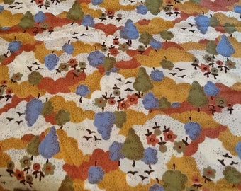 Vintage Fabric Material Trees Clouds Hills Birds Retro Silky