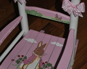 Children's- Custom Hand Painted- Peter Rabbit -Girls Rocking Chair-Baby Shower Gift -Nursery Furniture -Painted Child Rocking Chair