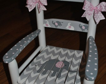 Children's- Custom Hand Painted- Chevron- Pink Elephant-Girls Rocking Chair-Baby Shower Gift -Nursery Furniture -Painted Child Rocking Chair