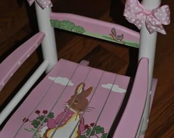 Children's- Custom Hand Painted- Peter Rabbit -Girls Rocking Chair-Baby Shower Gift -Nursery Furniture -Painted Child Rocking Chair