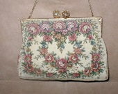 Vintage 1940s French Needlepoint Tapestry Evening Purse
